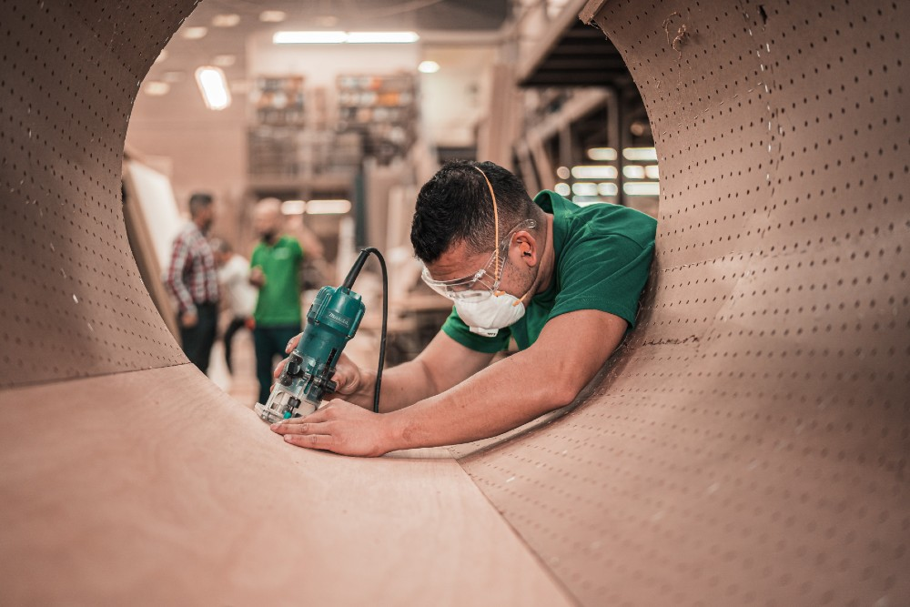 Person working in manufacturing plant